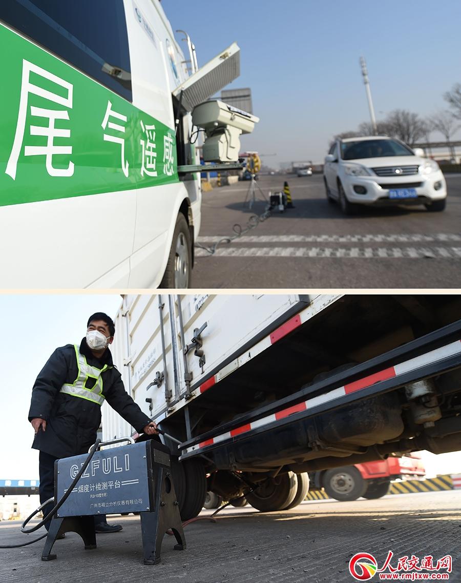 天津宁河区环保局工作人员在路边人工监测汽车尾气