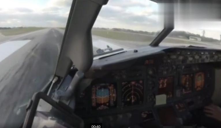 驾驶舱实拍波音737降落机场全过程