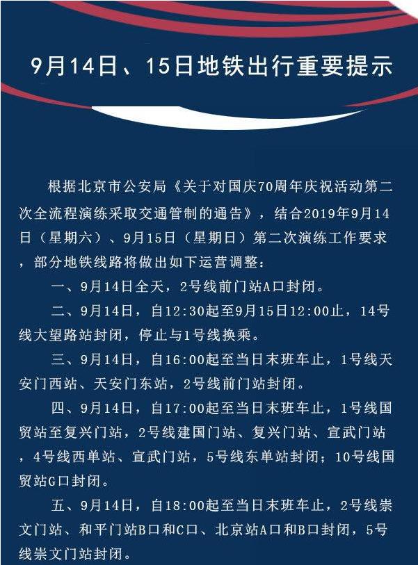 9月14日、15日北京地铁出行重要提示!