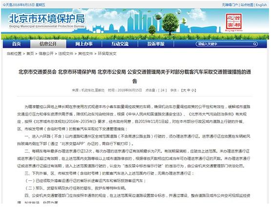 外地车在京限行新政出炉,将在11月1号正式实施