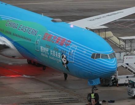 """全球首架""""进博号""""主题彩绘飞机在东航亮相"""