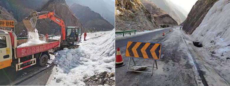 甘肃武山公路段及时清除积冰保安全
