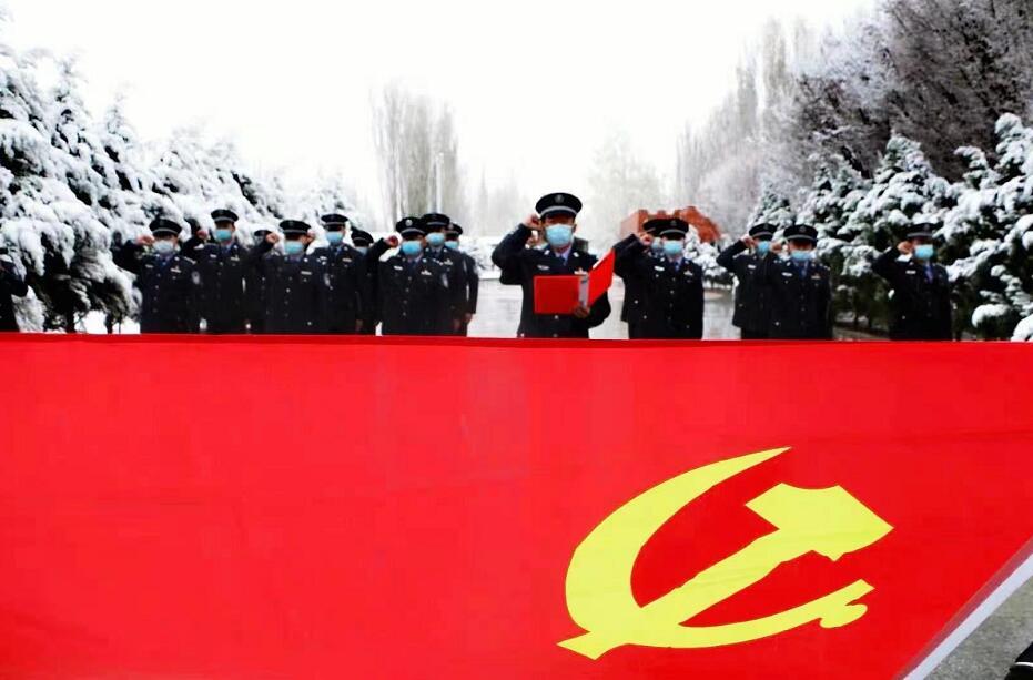 霍城边境管理大队开展清明节英烈祭奠活动