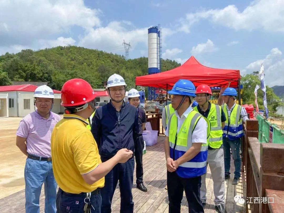 江西省交通运输厅领导调研赣州五云码头一期工程项目建设工作